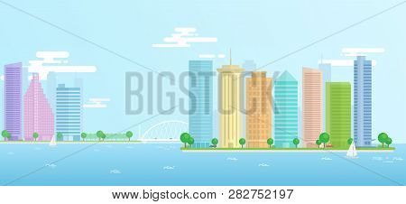 Landscape Of Urban, City, Seaport With Large Modern Buildings. Vector Illustration Flat Design Made