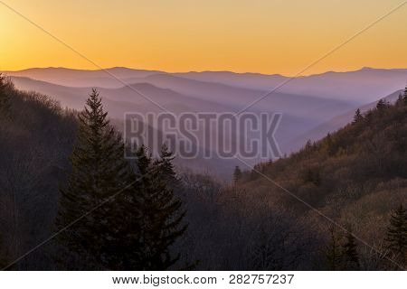 Morning Sunlight Dawns On The Foggy Ridges And Valleys Of Great Smoky Mountains National Park Near T