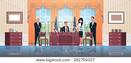 United States President Sitting Workplace Signing Law Act Document With Female Secretary And Male Bo