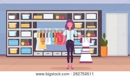 Woman Fashion Boutique Owner Holding Dress Girl Entrepreneur In Her Big Shop Female Clothes Shopping