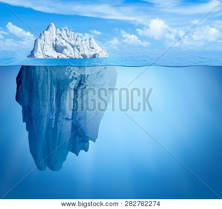 Iceberg in ocean. Hidden threat concept. 3d illustration.