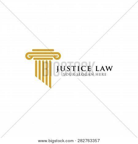 Pillar Logo Design Template. Justice Law And Attorney Logo Design Template