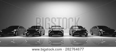 Fleet of black cars on light background. Brandless sedan vehicle, transportation. 3D illustration.