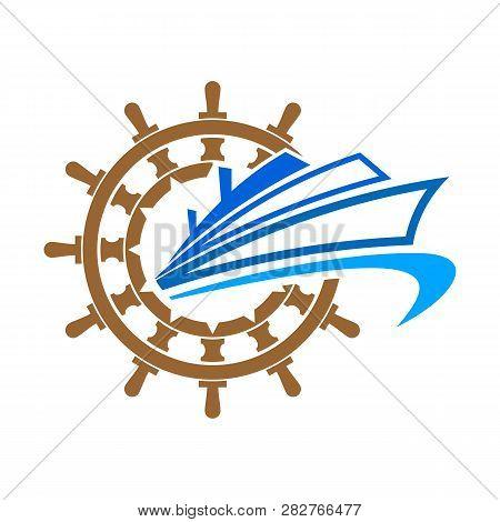 Illustration Ship Logo.ocean Ship Graphic. Marine Boat Transport Symbol. Nautical Icon. Vector Logo