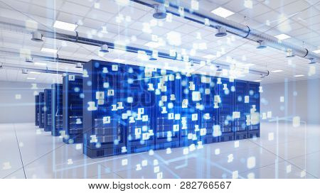 Server in the modern data center for cloud computing with flying binary numbers (3d rendering)
