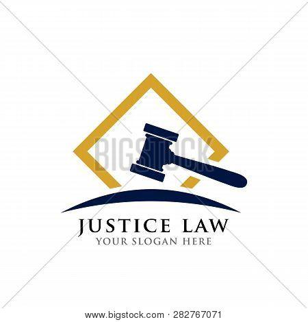 Judge Hammer Vector Icon Illustration. Judge Gavel Symbol