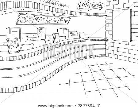 Fast Food Interior Graphic Black White Restaurant Sketch Illustration Vector