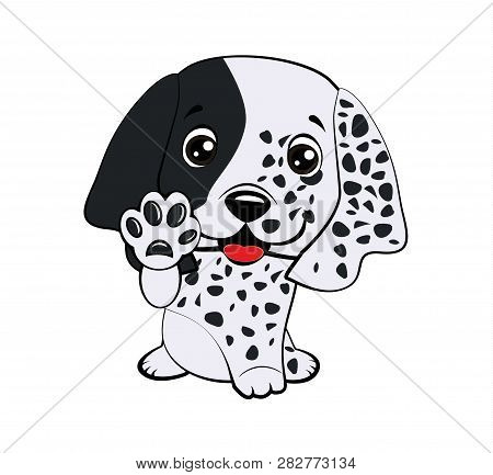 Dog Puppy English Setter. Children Vector Illustration Of Funny Little Sitting Puppy Dog Raised His