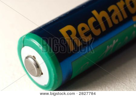 Aa Battery In Focus On White