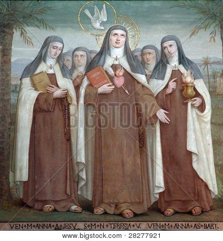 Bl. Anne of Jesus, Saint Teresa of Avila and Bl. Anne of St. Bartholomew, Saints, The Church Stella Maris, Haifa, Israel