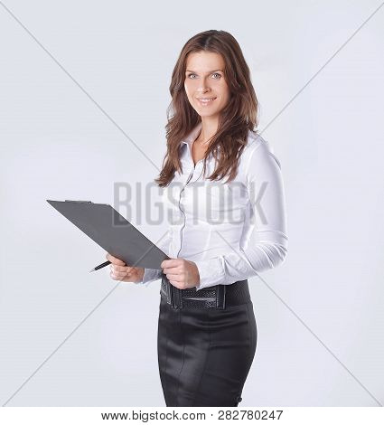Executive Business Woman Reading A Business Document