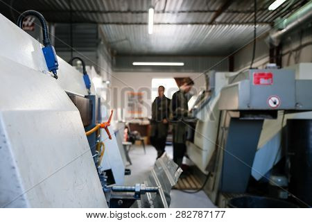 The Cnc Lathe Machine. Turning Machine For Drilling With The Drill Tool And Center Drill Tool .the H