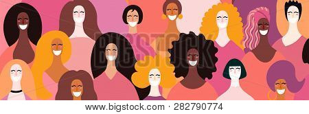 Womens Day Card, Poster, Banner, Background, With Diverse Women Faces. Hand Drawn Vector Illustratio