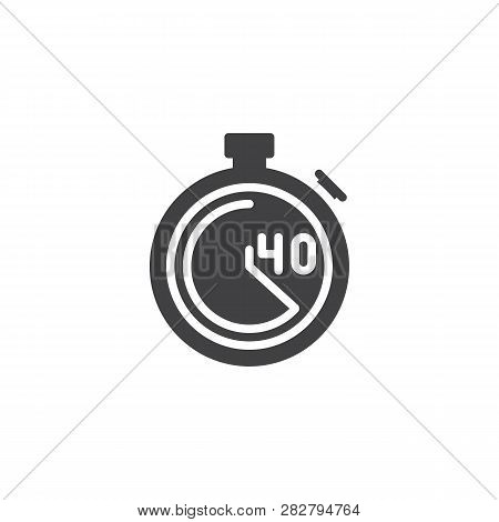 Stopwatch With 40 Minutes Delivery Time Vector Icon. Filled Flat Sign For Mobile Concept And Web Des
