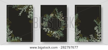 Vector Invitation Cards With Herbal Twigs And Branches Wreath And Corners Border Frames. Rustic Vint