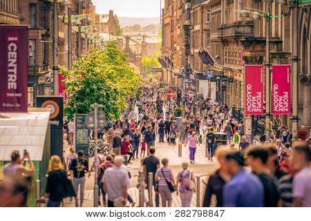 Glasgow, Scotland - May 27:  People Walking In Centre Of City On May 27, 2018 In Glasgow