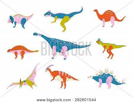 Collection Of Colorful Dinosaurs, Brontosaurus, Tyrannosaurus, Ankylosaurus, Tsintaosaurus, Pterodac