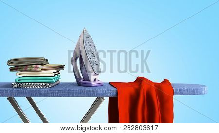 Modern Iron On The Ironing Board Near The Ironed Things In The Stack 3d Render On Blue Gradient