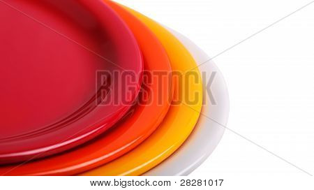 Colorful Plates Stacked For Display