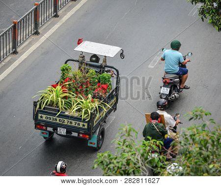 Saigon, Vietnam - Feb 1, 2019. Delivery Tricycle On Street In Saigon, Vietnam. Saigon (ho Chi Minh)