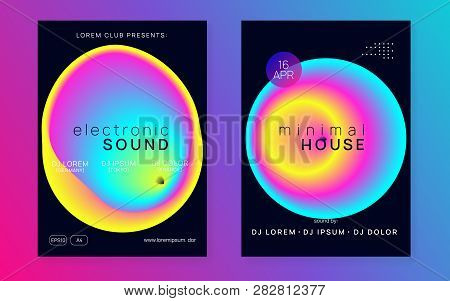 Music Flyer Set. Electronic Sound. Night Dance Lifestyle Holiday. Fluid Holographic Gradient Shape A