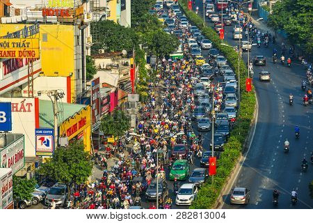 Rush Hours On Main Street In Saigon, Vietnam