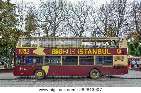Big Bus On Old Street In Istanbul