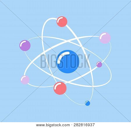 Atom  And Small Particles Isolated Icon Of Chemical Element Vector. Molecular Structure, Protons And