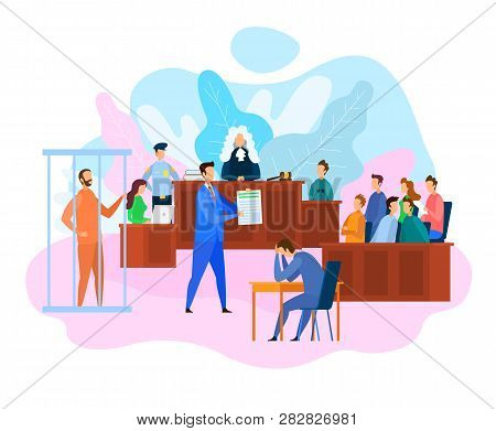 Vector Eps 10 Of Hearing In Courtroom. Judge, Witnesses And Jury. Attorney While Litigation. Court D