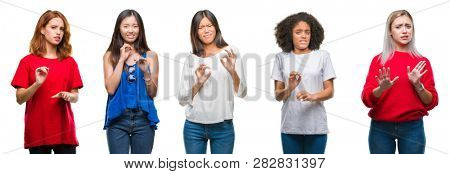 Collage of group of beautiful Chinese, asian, african american, caucasian women over isolated background disgusted expression, displeased and fearful doing disgust face because aversion reaction