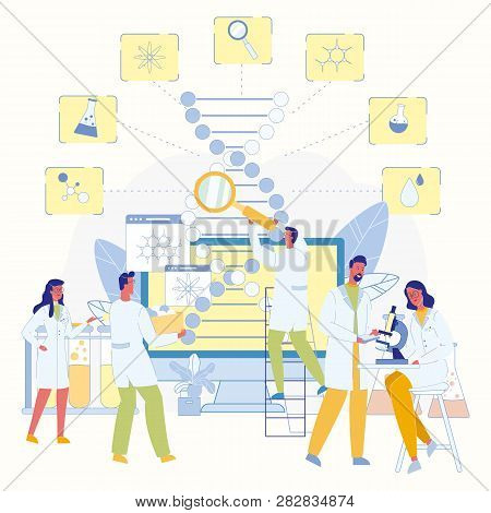 Medical Research. Team Of Scientists Studying Dna Molecule. Biotechnology And Healthcare. Doctors Wi