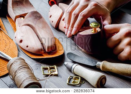 Cobbler Tools In Workshop Dark Background Close Up