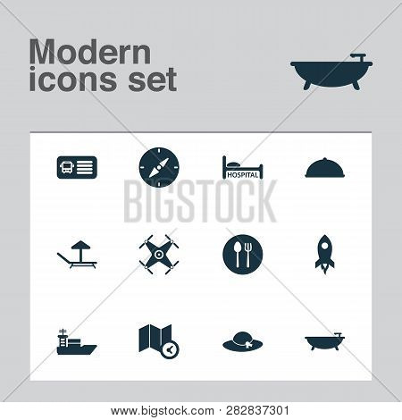 Tourism Icons Set With Food, Rocket, Hat And Other Drone Elements. Isolated Vector Illustration Tour