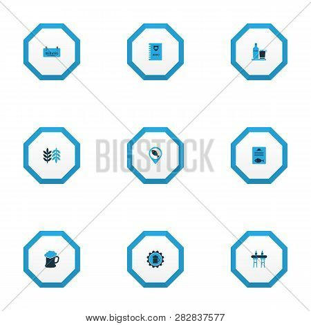 Beverages icons colored set with bar counter, draught, geolocation and other beer sticker elements. Isolated vector illustration beverages icons. poster