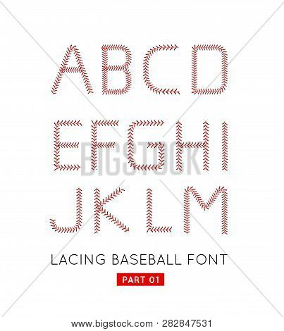 Baseball Font Made From Baseball Ball Lacing Along The Contours Of The Letters. Vector Illustration