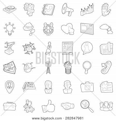 Hard Business Icons Set. Outline Style Of 36 Hard Business Icons For Web Isolated On White Backgroun