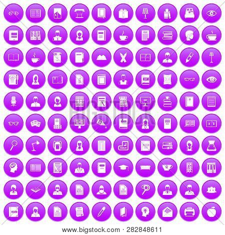 100 Reader Icons Set In Purple Circle Isolated Illustration
