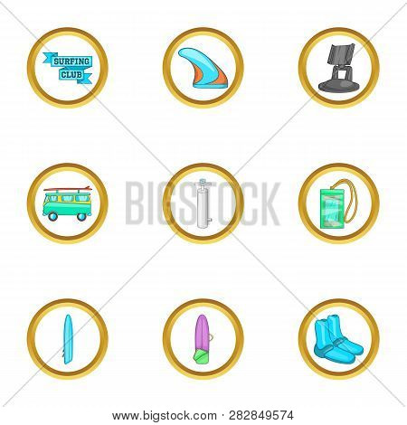 Surfing Trip Icons Set. Cartoon Set Of 9 Surfing Trip Icons For Web Isolated On White Background