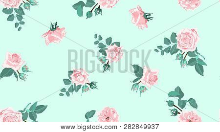 Vintage Floral Background, Roses Bouquet In Watercolor Style. Rustic Design, Wedding Decoration, Inv