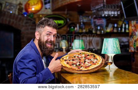 Man Received Delicious Pizza. Enjoy Your Meal. Cheat Meal Concept. Pizza Favorite Restaurant Food. F