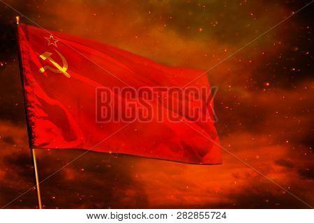 Fluttering Soviet Union (sssr, Ussr) Flag On Crimson Red Sky With Smoke Pillars Background. Soviet U