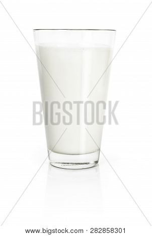 Glass Of Fresh Milk, Isolated On White Background. Pure Milk, Soy Milk Or Cow Milk, Cut Out Object.