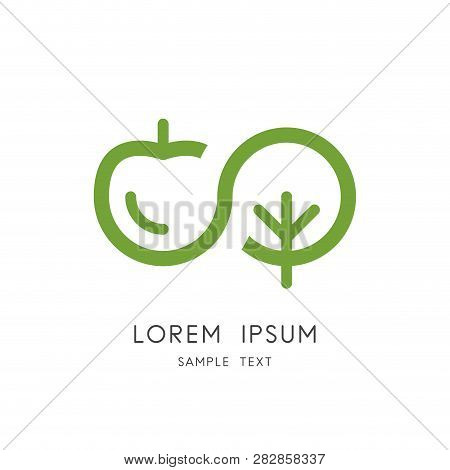 Infinity Nature Logo - Apple, Cherry Or Plum And Tree Symbol. Endless Life, Garden And Orchard, Frui