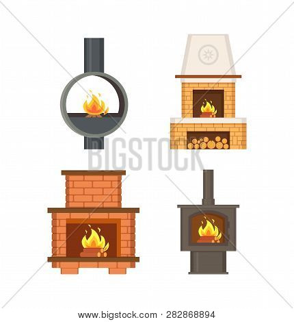Fireplace With Logs And Fire Flames Isolated Icons Set Vector. Contemporary Home Interior, Stove Mad