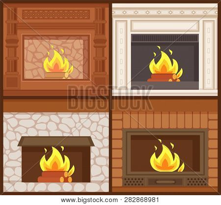 Fireplaces In Classic Styles Wooden And Stone Decoration Vector. Set Of Furnaces Of Open Kind, Burni