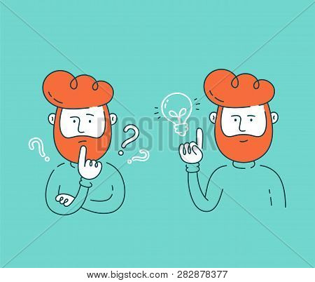 Young Man Thinking Standing Under Question Marks And Having Good Creative Idea.vector Flat Line Cart
