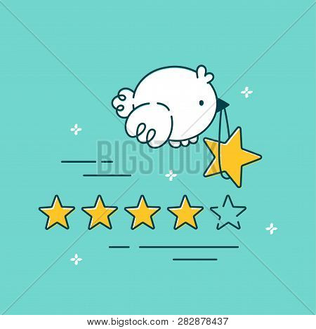 Cute Bird Fly And Carries Star In Beak. Vector Flat Line Cartoon Illustration Character Icon.positiv