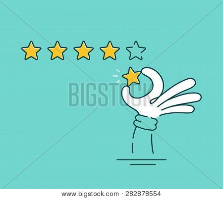 Man Hand Giving Five Star Rating.vector Flat Line Cartoon Illustration Character Icon.positive Busin