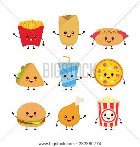 Cute Funny Smiling Happy Fast Food And Snacks Set Collection.vector Flat Cartoon Character Illustrat