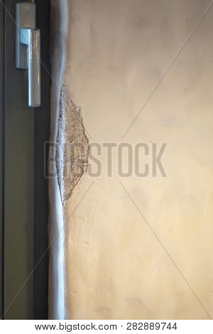 European plastered wall. Old Italian plaster with repulsed corners. The aging of the walls in the restaurant... poster